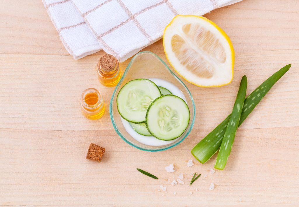Objets pour prendre soin de son corps concombre aloe vera et citron