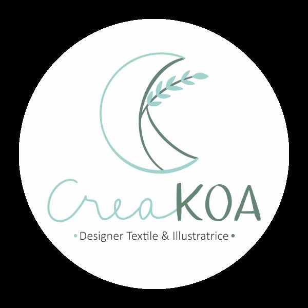 LOGO CreaKOA -Designer Textile & Illustratrice - Cercle Blanc