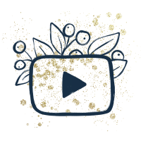 icone youtube creakoa paillettes dorées